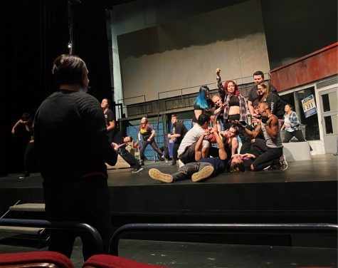 Cast members rehearse for the opening of American Idiot, at Harper starting November 15. Photo by Julia Park.