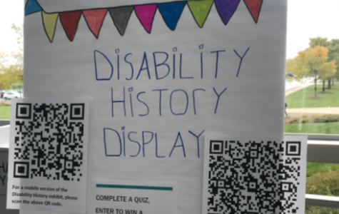 A sign reading Disability History Display. Photo taken by Stephanie Arredia.