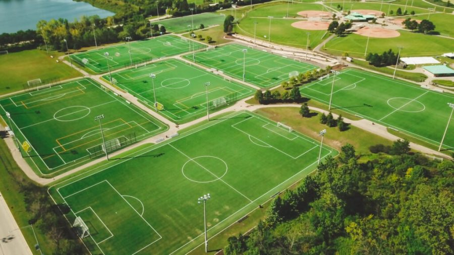 The multiple turf soccer fields and the well-maintained softball fields at Schaumburg's largest sports complex: Olympic Park. (Photo courtesy of the Schaumburg Park District)