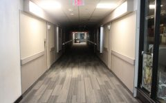 The hallway leading to the security offices are also poorly lit due to the fact that there are no above windows. Photo by Mark D'Adamo.