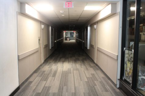 The hallway leading to the security offices are also poorly lit due to the fact that there are no above windows. Photo by Mark D