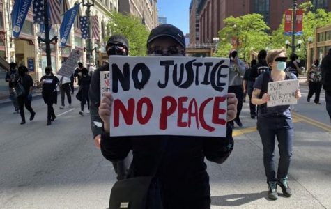 Protesting down Wabash  Avenue on May 30th for the Blacks Lives Matter movement in Chicago. Photo by Micaela Gaffo.