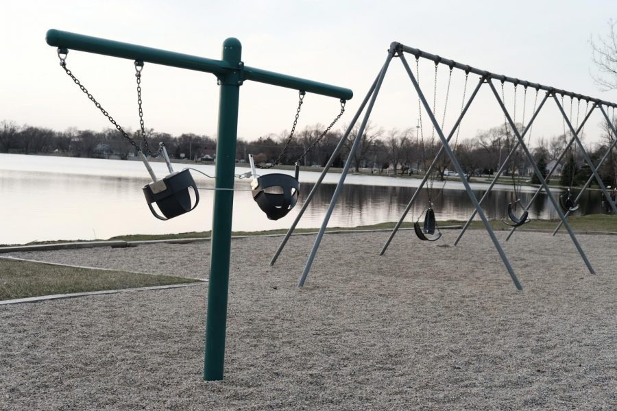 The swings at Morrison Park in Lakemoor, a suburb of Chicago, were chained together to inhibit their use due to social distancing on April 3, 2020. Photo by Vicki Land.
