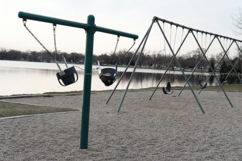 The swings at Morrison Park in Lakemoor, a suburb of Chicago, were chained together to inhibit their use due to social distancing on April 3, 2020. Photo Courtesy of Vicki Land.