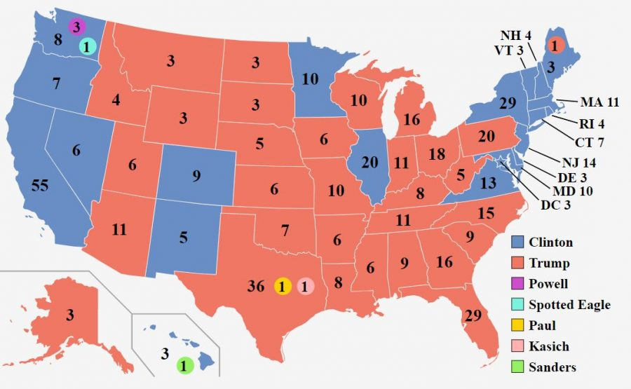 The+results+of+the+2016+electoral+college+vote.+Seven+electors+did+not+vote+for+the+winner+of+their+state.+Image+courtesy+of+Creative+Commons.