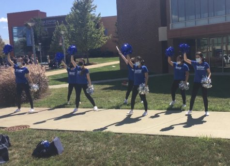 Harper Pom, Dance, and Spirit Team performs on the quad for Hullabaloo on Sept. 8, 2021. (photo courtesy of Adriana Briscoe)
